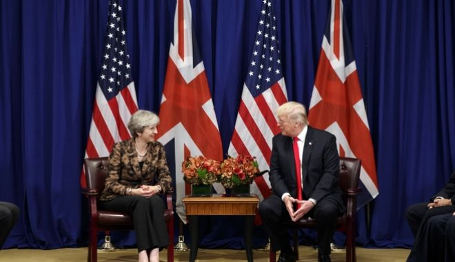 Ο πρόεδρος των ΗΠΑ και η βρετανίδα πρωθυπουργός στην Γενική Συνέλευση του ΟΗΕ, 20 Σεπτεμβρίου 2017