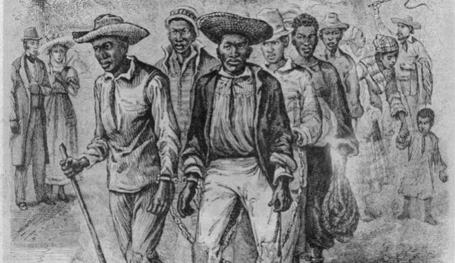 This is an undated photo of an illustration of pre-Civil war life depicting African men in slave pens in Washington D.C. circa 1849-1850.  (AP Photo)