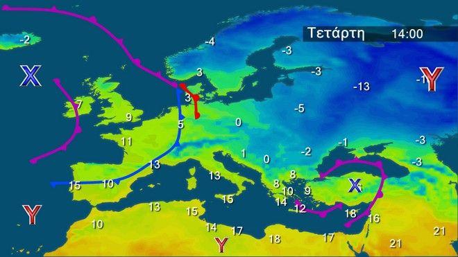 Οι θερμοκρασίες στην Ευρώπη την Τετάρτη