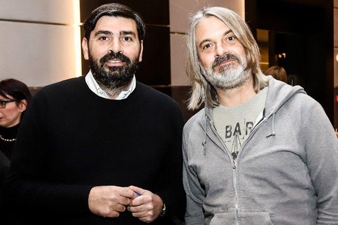 Από αριστερά: Παντελής Βλαχόπουλος, διευθυντής Sport24.gr και ο δημοσιογράφος Αντρέα Παλομπαρίνι