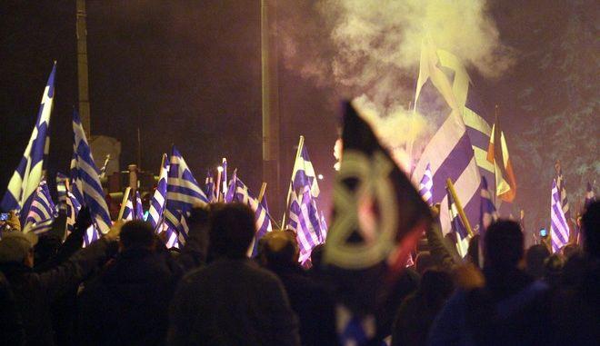 Συγκέντρωση στην πλατεία Ρηγίλλης και πορεία στο κέντρο της Αθήνας πραγματοποίησαν εχθές Σάββατο μέλη της ακροδεξιάς οργάνωσης Χρυσή Αυγή για την επέτειο της κρίσης μεταξύ Ελλάδας και Τουρκίας στην βραχονησίδα Ίμια τον Ιανουάριο του 1996,Κυριακή 30 Ιανουαρίου 2011(EUROKINISSI/ΣΥΝΕΡΓΑΤΗΣ)