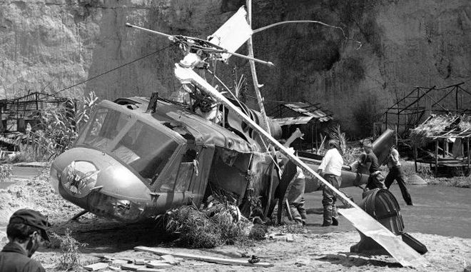 FILE - This July 23, 1982 file photo shows the crash site where actor Vic Morrow and two children were killed during the filming of movie ÄúThe Twilight ZoneÄù in Santa Clarita, Calif. The accident shook the film industry and led to new safety standards for the use of choppers.  (AP Photo/Scott Harms, File)