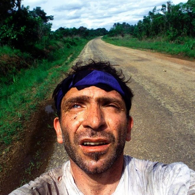 Behrakis takes a self portrait after surviving an ambush by Revolutionary United Front rebels in the jungle of Sierra Leone when Kurt Schork and Miguel Moreno were killed.