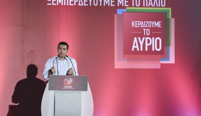 Ομιλία του προέδρου του ΣΥΡΙΖΑ Αλέξη Τσίπρα στην Καλαμάτα το Σάββατο 12 Σεπτεμβρίου 2015. (EUROKINISSI/ΓΡΑΦΕΙΟ ΤΥΠΟΥ ΣΥΡΙΖΑ/ANDREA BONETTI)
