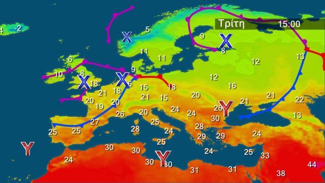 Διατηρείται ζεστός ο καιρός την Τρίτη - Στους 32 βαθμούς η θερμοκρασία