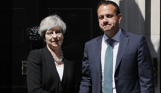 "Britain's Prime Minister Theresa May welcomes Irish Prime Minister Leo Varadkar to 10 Downing Street in London, Monday, June 19, 2017. The talks on Britain's exit from the European Union finally started Monday when EU negotiator Michel Barnier said ""Welcome David"" to his counterpart, David Davis, and led him toward a huge oval table at the European Commission headquarters. (AP Photo/Kirsty Wigglesworth)"