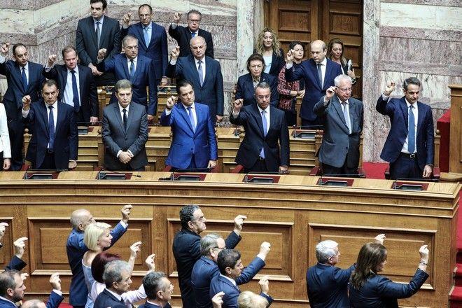 Αγιασμός και ορκωμοσία της νέας Βουλής, της ΙΗ' Κοινοβουλευτικής Περιόδου της Ελληνικής Δημοκρατίας, την Τετάρτη 17 Ιουλίου 2019.