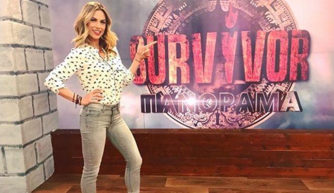 Η Ντορέττα Παπαδημητρίου στο στούντιο της εκπομπής Survivor Πανόραμα
