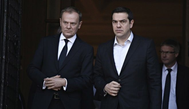 Meeting between the Prime Minister of Greece, Alexis Tsipras, and the President of the European Council Donald Tusk, in Athens, on Mar. 03, 2016 /             ,  ,  3 , 2016