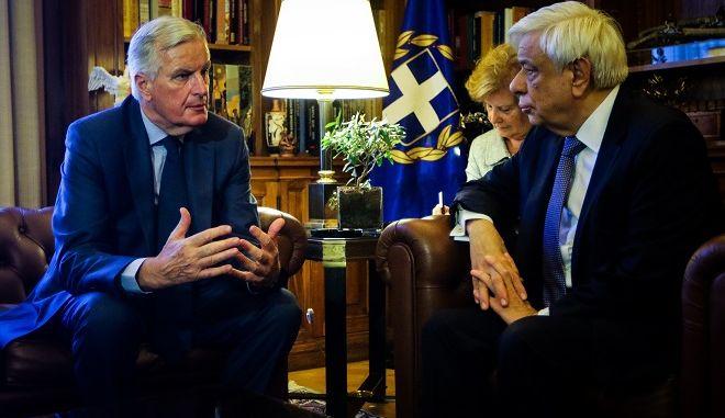Με τον επικεφαλής διαπραγματευτή για το Brexit Μισέλ Μπαρνιέ,συναντήθηκε σήμερα ο Πρόεδρος της Δημοκρατίας Προκόπης Παυλόπουλος