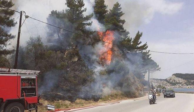 Ζάκυνθος: Υπό μερικό έλεγχο η φωτιά στο Αργάσι