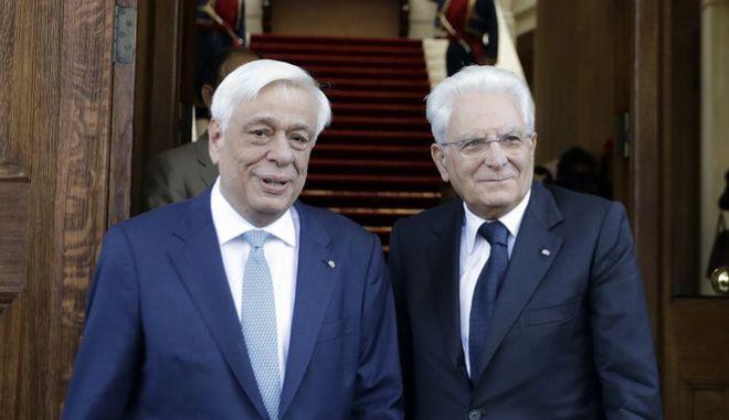 Ο Προκόπης Παυλόπουλος μαζί με τον ιταλό πρόεδρο Σέτρζιο Ματαρέλα