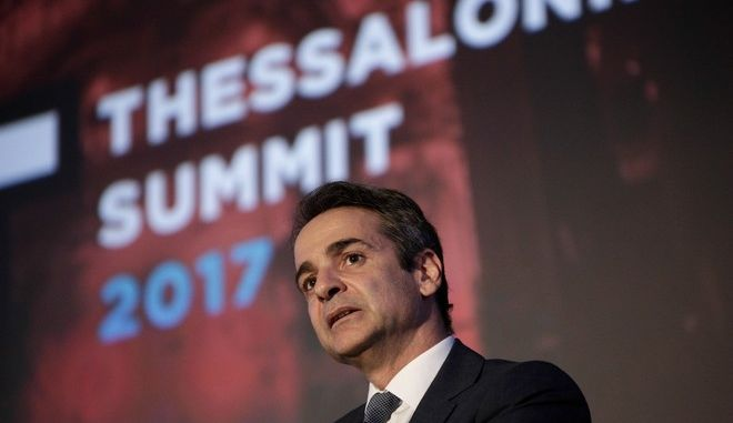 Opposition party leader Kyriakos Mitsotakis delivers a speech at the Thessaloniki Summit 2017, Thessaloniki, Greece on October 5, 2017. /          Thessaloniki Summit 2017, , 5  2017.