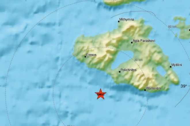 Ισχυρός σεισμός ανοιχτά της Μυτιλήνης