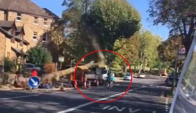 Απίστευτο βίντεο: Δέντρο παραλίγο να καταπλακώσει ποδηλάτη - Σώθηκε για δευτερόλεπτα