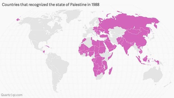 Χάρτης: Όλα τα κράτη που αναγνώρισαν την Παλαιστίνη σαν ανεξάρτητο κράτος. Εκτός η Ελλάδα