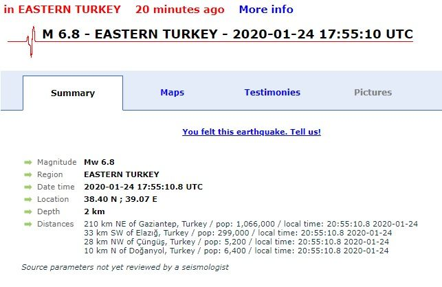 Σεισμός: Ισχυρότατη δόνηση 6,8 Ρίχτερ - Τουλάχιστον 14 νεκροί και 300 τραυματίες