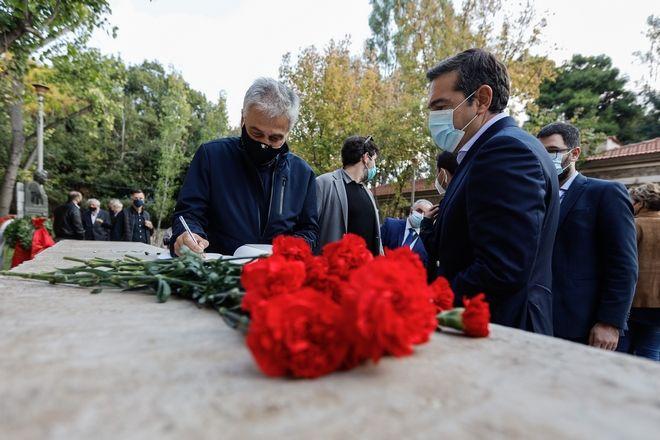 Κατάθεση στεφάνου από τον πρόεδρο του ΣΥΡΙΖΑ Αλέξη Τσίπρα για την επέτειο του Πολυτεχνείου, στο ΕΑΤ - ΕΣΑ