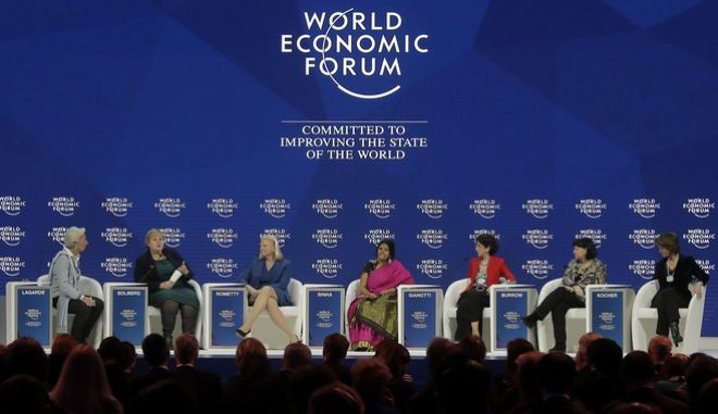 From left, Christine Lagarde, Managing Director of the International Monetary Fund (IWF), Erna Solberg, Prime Minister of Norway, Virginia Rometty, CEO of IBM, Chetna Sinha, President of the Mann Deshi Foundation, Fabiola Gianotti, Director of the European Organization for Nuclear Research (CERN), Sharan Burrow, General Secretary of the International Trade Union Confederation (ITUC) and Isabelle Kocher, CEO of ENGIE, attend a discussion on creating a shared future in a fractured world during the annual meeting of the World Economic Forum in Davos, Switzerland, Tuesday, Jan. 23, 2018. (AP Photo/Markus Schreiber)