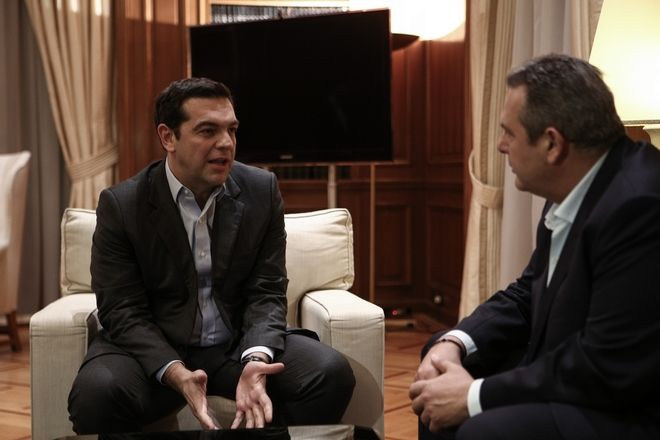 Meeting of Prime Minister Alexis Tsipras with the leader of the Independent Greeks political party and Defence Minister of the coalition government Panos Kammenos in the context of meetings with the political leaders ahead of the multilateral conference in Geneva on the Cyprus issue, in Athens, Greece on January 9, 2017. /                                 . , 9  2017.
