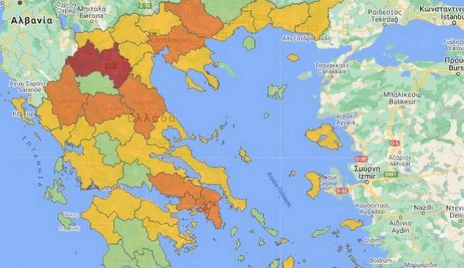 Κορονοϊός: Ο νέος χάρτης υγειονομικής ασφάλειας - Ποιες περιοχές αλλάζουν επίπεδο συναγερμού