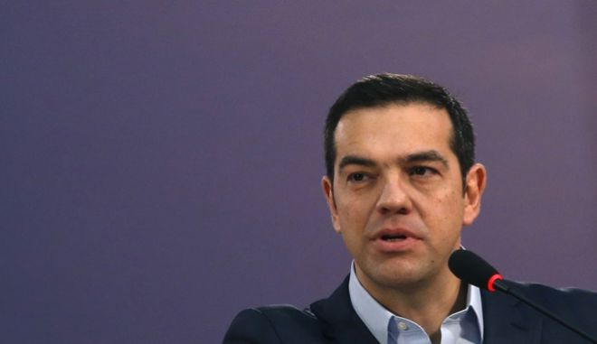 Greece's Prime Minister Alexis Tsipras speaks during a press conference after talks with Serbian President Aleksandar Vucic, Romanian Prime Minister Mihai Tudose and Bulgarian Prime Minister Boyko Borisov, in Belgrade, Serbia, Saturday, Dec. 9, 2017. Prime ministers of Greece, Bulgaria and Romania have pledged support for Serbia's membership in the European Union, saying it would boost stability in the Balkans. (AP Photo/Darko Vojinovic)