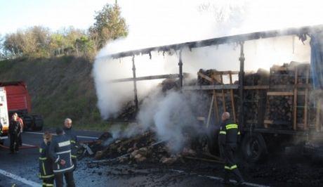 Κλειστό 12 ώρες τμήμα της Εγνατίας οδού λόγω φωτιάς σε φορτηγό