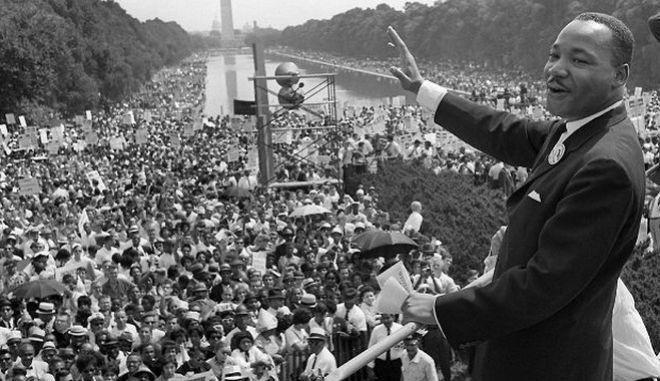 Ο Μάρτιν Λούθερ Κινγκ στην συγκέντρωση της 28ης Αυγούστου 1963.