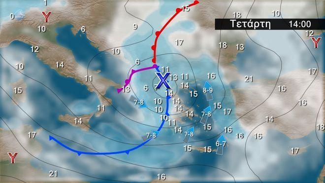 Καιρός: Bροχές και καταιγίδες από τα δυτικά - Θυελλώδεις άνεμοι στα πελάγη