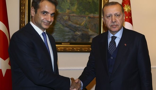 Ο Κυριάκος Μητσοτάκης και ο Ρετζέπ Ταγίπ Ερντογάν σε συνάντησή τους τον Δεκέμβριο του 2017 στην Αθήνα