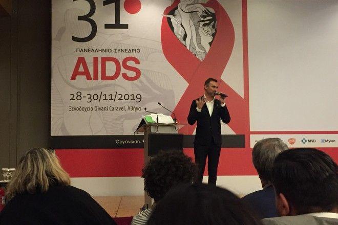 Ο Γιώργος Καπουτζίδης κατά την τελετή έναρξης του 31ου Πανελλήνιου Συνεδρίου AIDS