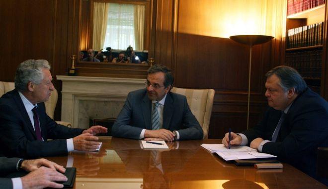 Σύσκεψη του Πρωθυπουργού Αντώνη Σαμαρά με τους αρχηγούς του ΠΑΣΟΚ Ευάγγελο Βενιζέλο και της ΔΗΜΑΡ Φώτη Κουβέλη,Πέμπτη 21 Ιούνιος 2012 (EUROKINISSI-ΤΑΤΙΑΝΑ ΜΠΟΛΑΡΗ)