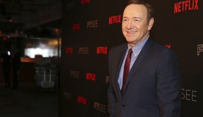 """Kevin Spacey seen at the """"House of Cards"""" event at the Netflix FYSee exhibit space with Q&A panel at the Samuel Goldwyn Theater on Monday, May 07, 2017, in Los Angeles. (Photo by Blair Raughley/Invision for Netflix/AP Images)"""