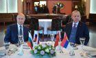 Ο πρόεδρος της Τουρκίας Ταγίπ Ερντογάν, και ο πρόεδρος της Ρωσίας Βλαντιμίρ Πούτιν, παρακολουθούν δείπνο εργασίας,  Τετάρτη, 8 Ιανουαρίου 2020