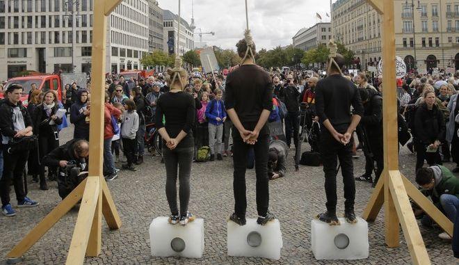 Εικόνα από διαδήλωση στο Βερολίνο για το κλίμα