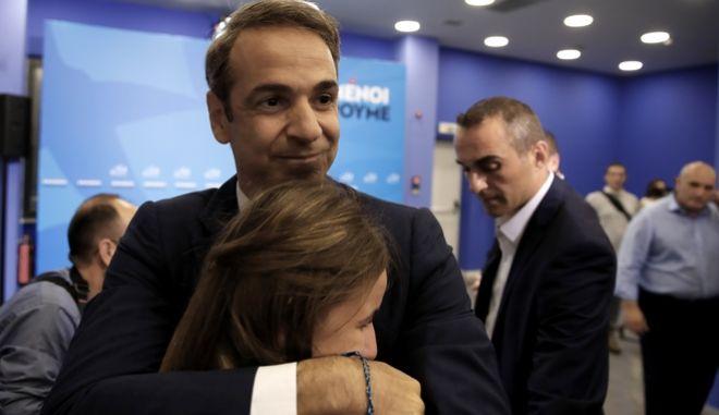 Νίκη του Κυριάκου Μητσοτάκη και της ΝΔ στις εθνικές εκλογές 2019. (AP Photo/Thanassis Stavrakis)