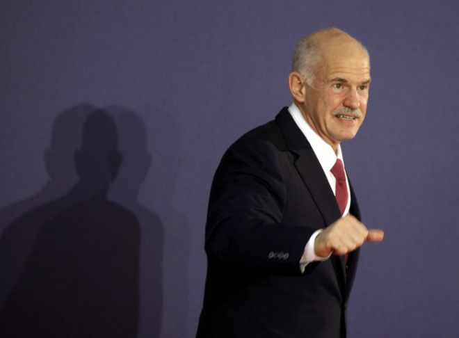Greek Prime Minister George Papandreou arrives at the G20 summit in Cannes,  Wednesday Nov.2, 2011. Papandreou arrived to the chic French Riviera resort of Cannes to explain himself to European leaders furious over his surprise referendum on a bailout deal that took them months to work out.. (AP Photo/Markus Schreiber)