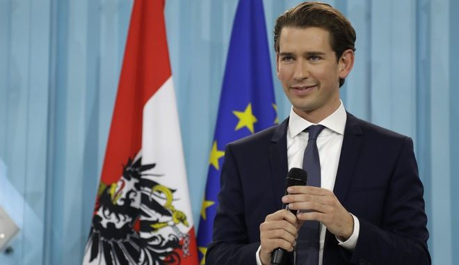 Foreign Minister Sebastian Kurz, head of Austrian People's Party, speaks during the election party in Vienna, Austria, Sunday, Oct. 15, 2017, after the closing of the polling stations for the Austrian national elections. (AP Photo/Matthias Schrader)