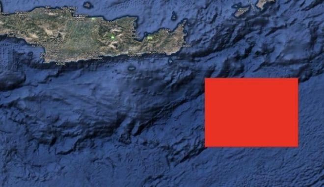 Η νέα navtex που εξέδωσε η Τουρκία ΝΑ της Κρήτης