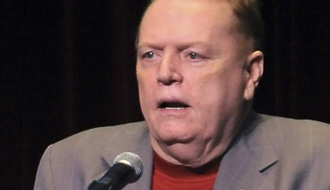 """FILE - In this April 30, 2011 file photo, Larry Flynt speaks in Los Angeles, Calif. Flynt is offering """"up to $10 million"""" to anyone who produces information that leads to President Donald Trump's impeachment and removal from office. He lays out the offer in a full-page ad in the Sunday edition of The Washington Post. (AP Photo/Katy Winn, file)"""
