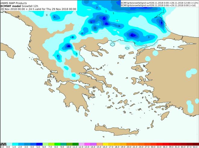 Προβλεπόμενα ύψη χιονιού από Τετάρτη 12:00 έως Πέμπτη 00:00 UTC