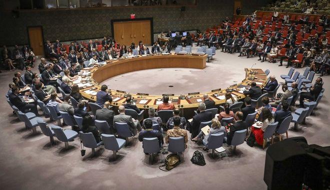 Εικόνα από συνεδρίαση του Συμβουλίου Ασφαλείας του ΟΗΕ