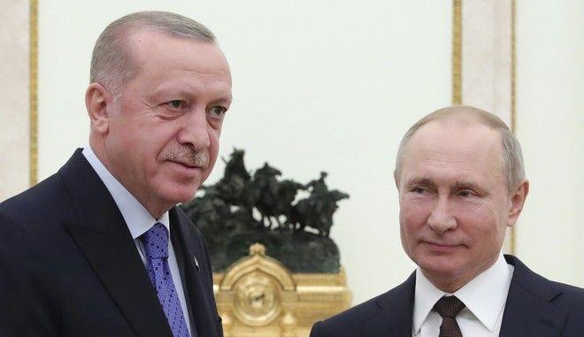 Ο Βλαντιμίρ Πούτιν μαζί με τον Ταγίπ Ερντογάν