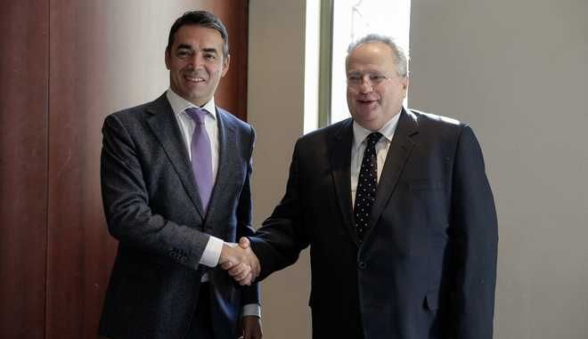Bilateral meeting of Minister of Foreign Affairs Nikos Kotzias with his FYROM's counterpart Nikola Dimitrov during the 2nd Ministerial Meeting of Greece, Albania, Bulgaria and FYROM, Thessaloniki on October 5, 2017. /             Nikola Dimitrov     2   , ,   , , 5  2017.