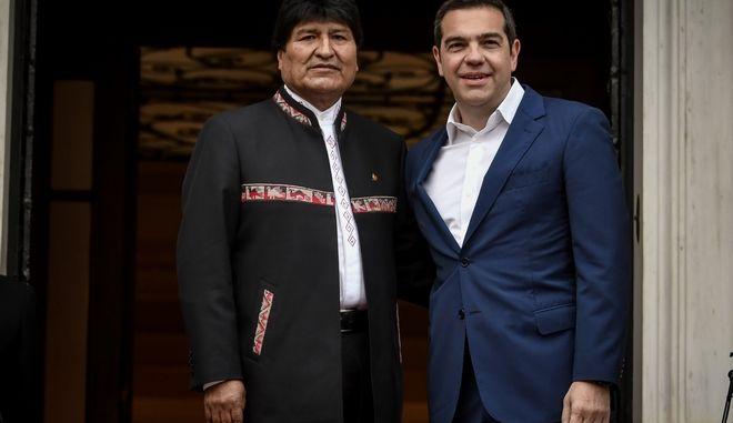 Συνάντηση του Πρωθυπουργού Αλέξη Τσίπρα με τον Πρόεδρο της Βολιβίας, Έβο Μοράλες, την Παρασκευή 15 Μαρτίου 2019. (EUROKINISSI/ΤΑΤΙΑΝΑ ΜΠΟΛΑΡΗ)