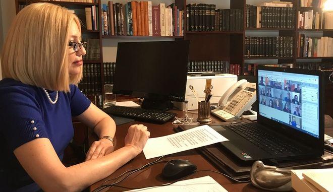 Η πρόεδρος του Κινήματος Αλλαγής, Φώφη Γεννηματά, στην τηλεδιάσκεψη των ηγετών του Ευρωπαϊκού Σοσιαλιστικού Κόμματος - PES Leaders