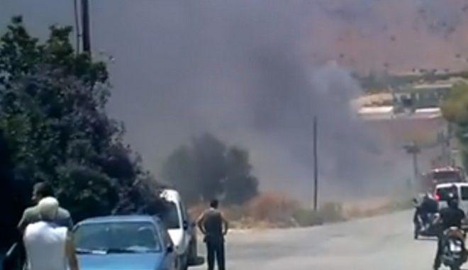 Φωτιά στην περιοχή Γαζίου στο Ηράκλειο