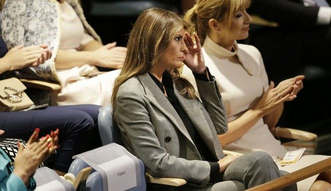First lady Melania Trump, wife of United States President Donald Trump, watches as her husband speaks during the United Nations General Assembly at U.N. headquarters, Tuesday, Sept. 19, 2017. (AP Photo/Seth Wenig)