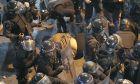 Πεσμένος διαδηλωτής ανάμεσα σε αστυνομικούς στη Βηρυτό