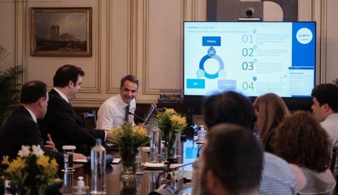 Τηλεδιάσκεψη υπό τον Πρωθυπουργό Κυριάκο Μητσοτάκη για την παρουσίαση των υπηρεσιών του ηλεκτρονικού ΚΕΠ, την Δευτέρα 27 Ιουλίου 2020